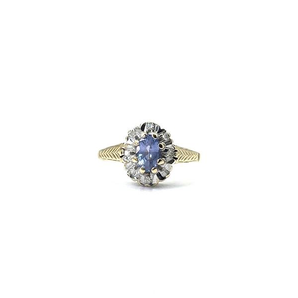 vintage cluster ring tanzaniet en diamant entourage