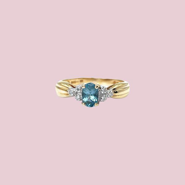 gouden ring topaas en diamant vintage goud