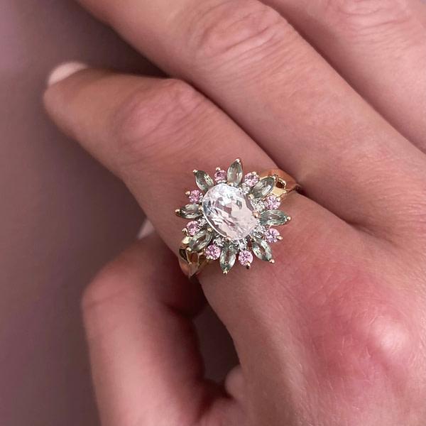 gouden ring tweedehands entourage bloem cluster ring roze groen