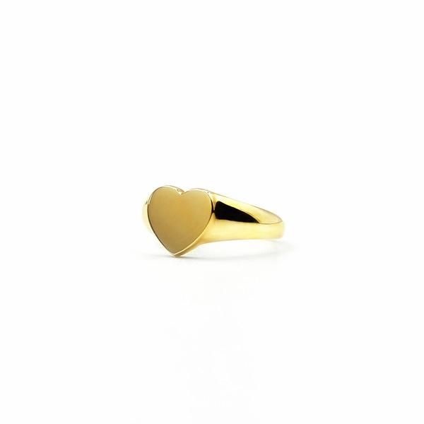 gouden signet ring hart zegelring goud met hartje
