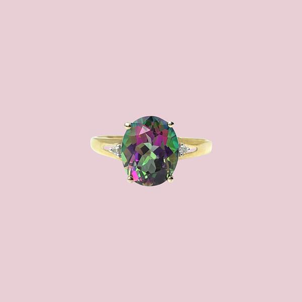gouden ring met mystic topaz topaas vintage ringen