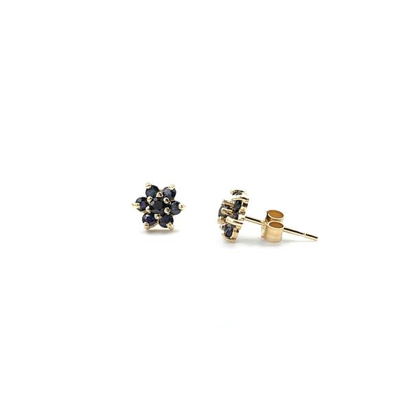 gouden saffier oorbellen bloem oorknopjes van goud