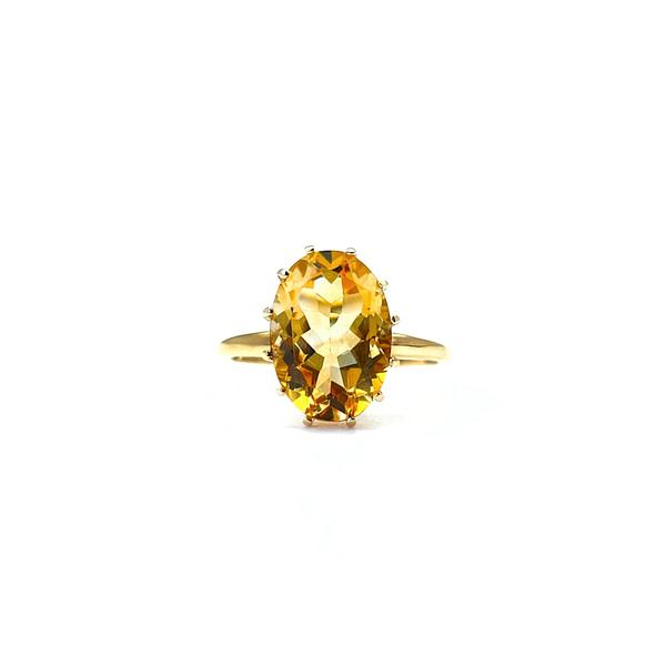 gouden ring met citrien solitair groot gele edelsteen