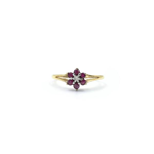 vintage gouden ring 9k met robijn en diamant bloemetje