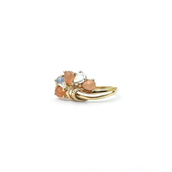 vintage gouden ring maansteen en zonnesteen
