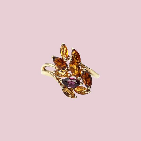 gouden ring met granaat cluster oranje en roze