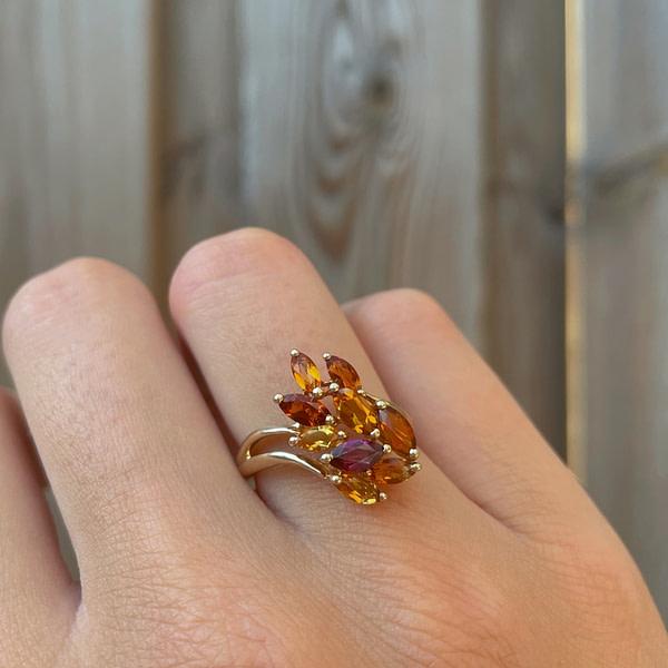 vintage granaat ring goud bloem cluster