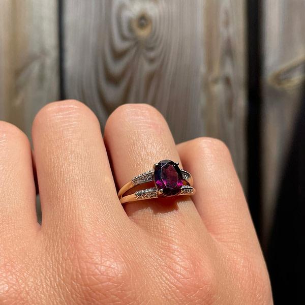 vintage gouden ring met framboos granaat rhodoliet en diamant