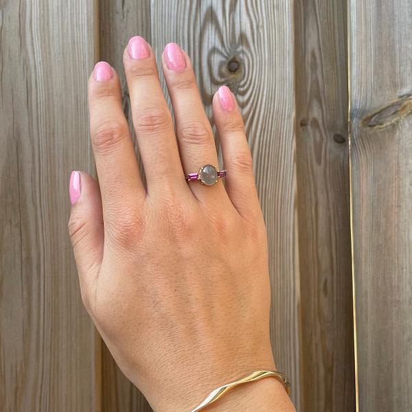 vintage gouden ring maansteen en amethist