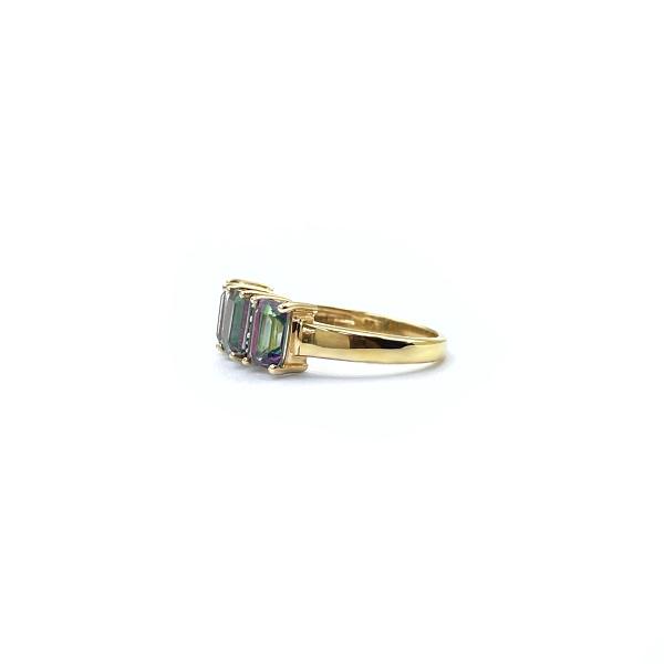 gouden mystic topaz ring rechthoekige steen topaas en diamant