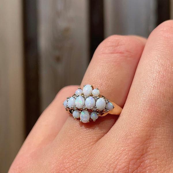 opaal ring goud met diamant