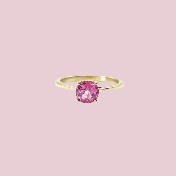 gouden ring met roze topaas solitair roze steen