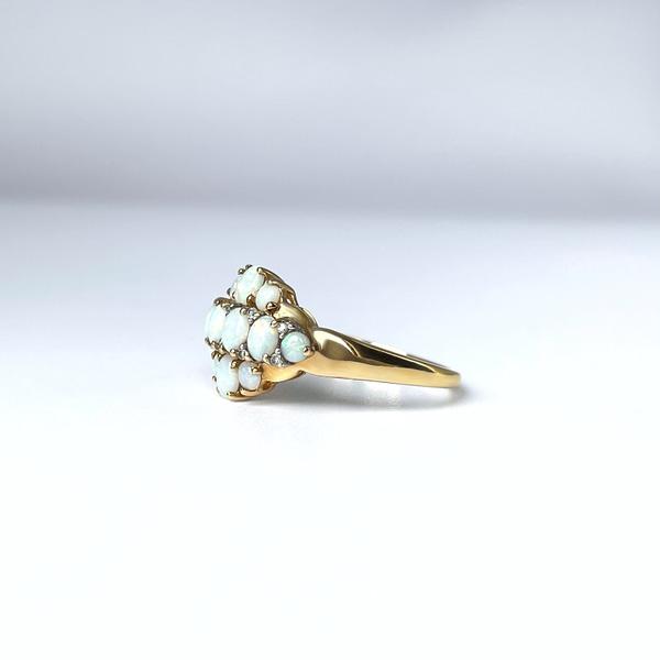 gouden opaal ring vintage goud met diamantjes