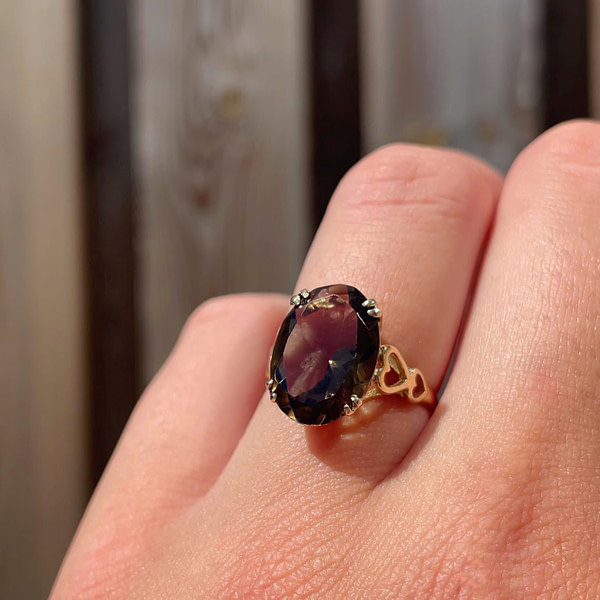 ring met rookkwarts tweedehands