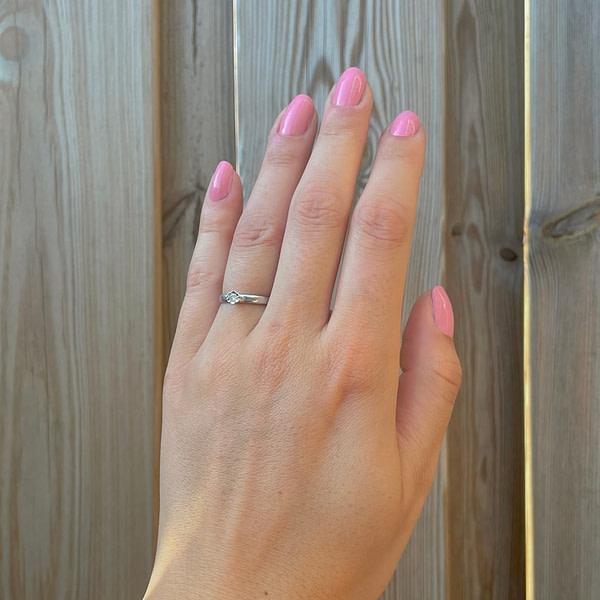 vintage ring witgoud met diamant solitair 0.05 ct