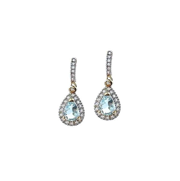 aquamarijn oorbellen met diamant vintage goud oorhangers
