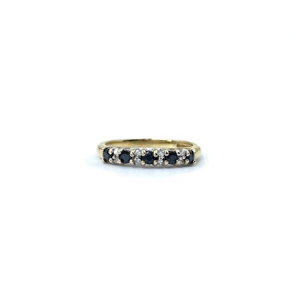 gouden eternity ring saffier en diamant rij ring vintage