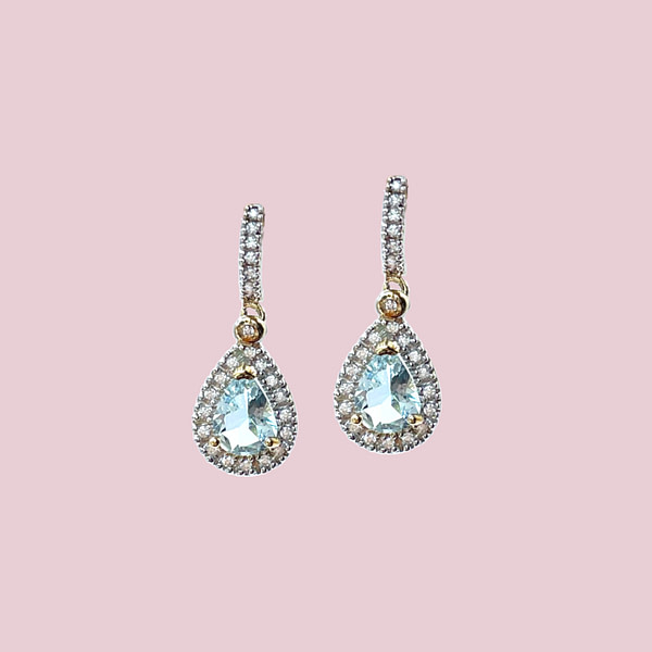 vintage oorbellen aquamarijn en diamant goud 10 karaat