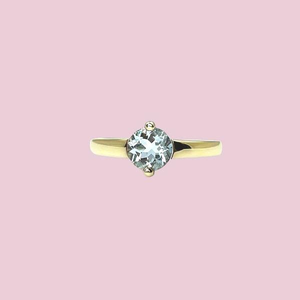 gouden aquamarijn ring solitair vintage sieraden