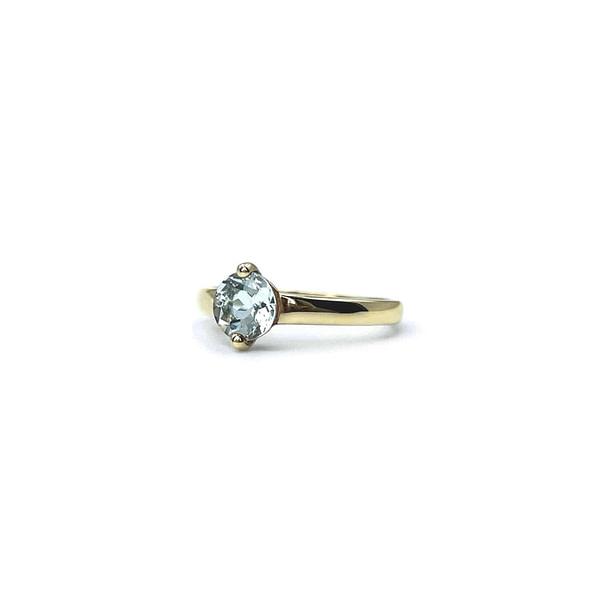 vintage aquamarijn ring goud blauwe steen