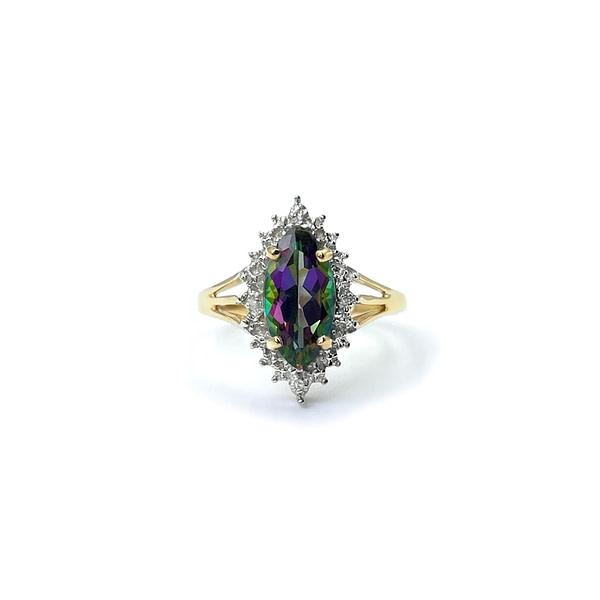 vintage gouden cluster ring met mystic topaz en diamant markiesgeslepen