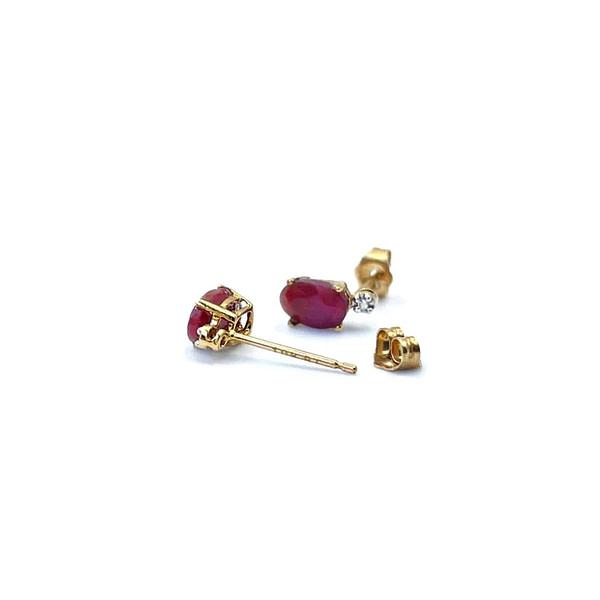 robijn oorknopjes goud met diamant vintage oorbellen