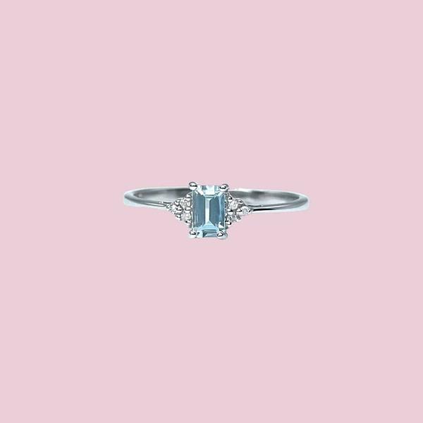 aquamarijn ring witgoud emerald cut met diamant