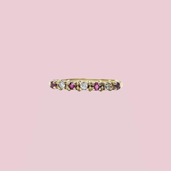 eternity ring diamant en robijn rij 9 karaat goud
