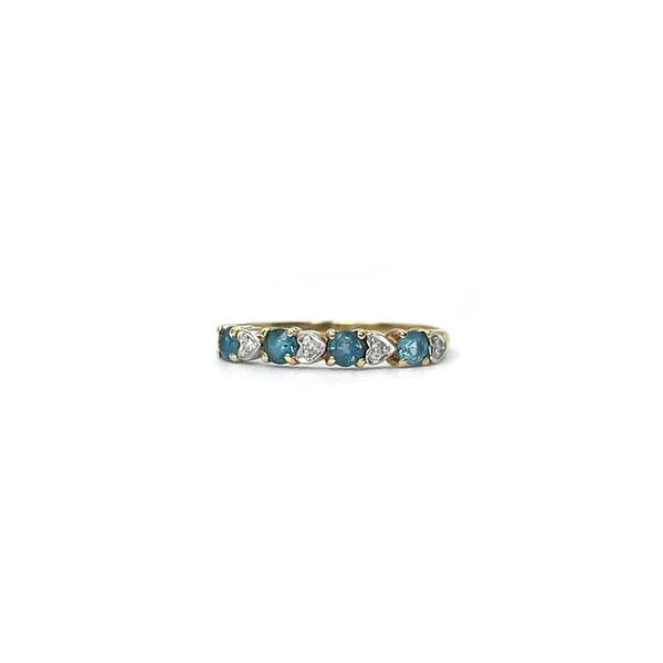 vintage eternity ring goud met hartjes topaas en diamant
