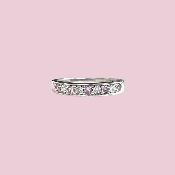 witgouden eternity ring met amethist en diamant vintage ringen