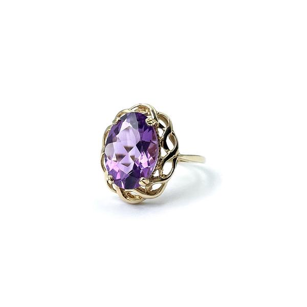 gouden vintage ring met grote amethist paars in zetting