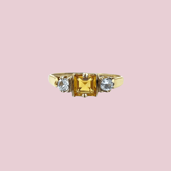 vintage gouden ring citrien vierkant princess cut met topaas