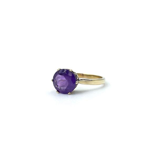 vintage ring amethist solitair 9 karaat goud