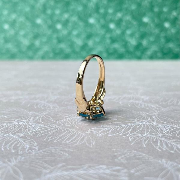 vintage gouden cluster ring met bloem van topaas