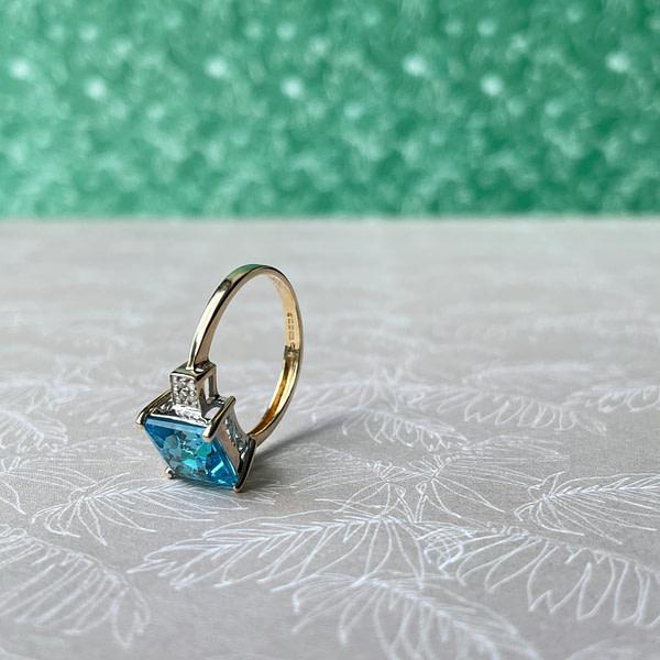 vintage ring topaas en diamant 9k goud