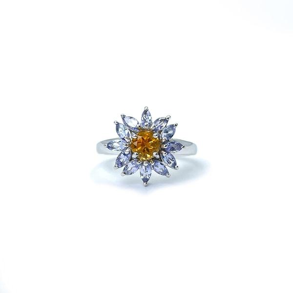 ring witgoud met bloem van citrien vintage bloemring