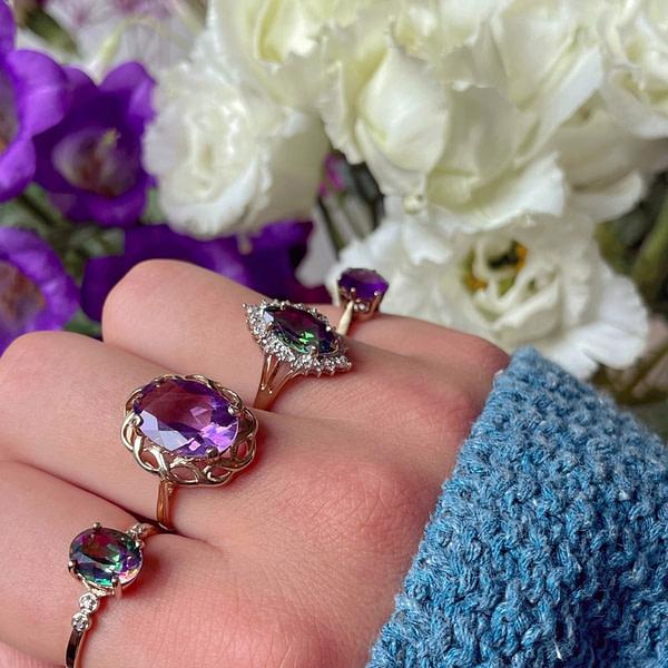 vintage gouden ringen met amethist en mystic topaz