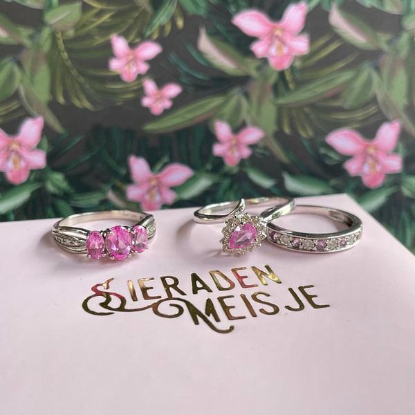 vintage witgouden ringen met roze steen (saffier) en diamant