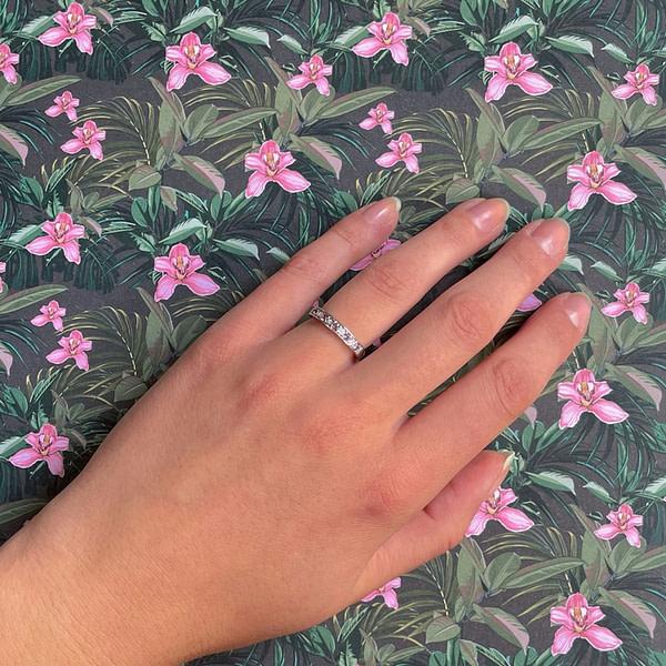 amethist en diamant eternity ring vintage witgoud