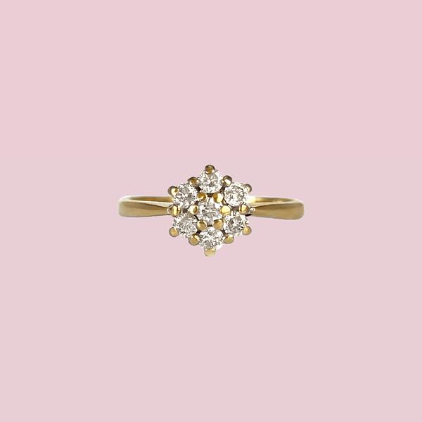 vintage ring diamant cluster bloem 0.25ct