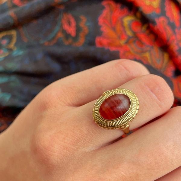 vintage ring rode agaat