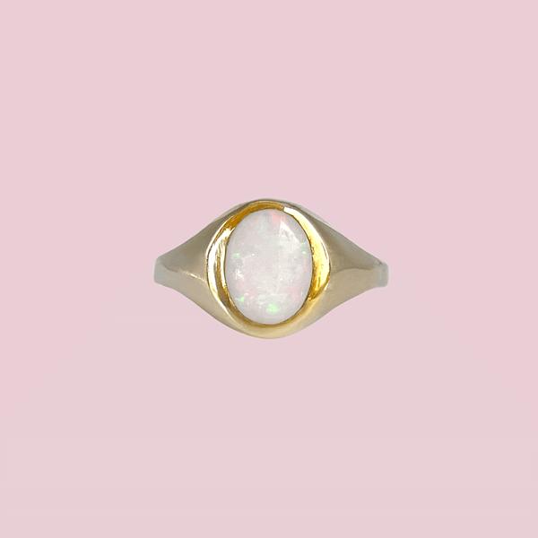 vintage signet ring met opaal zegelring dames