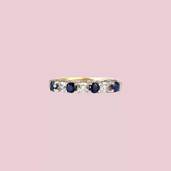 vintage eternity ring saffier en diamant rij ring