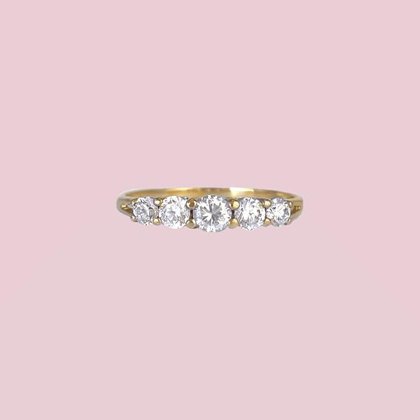vintage ring zirkonia vijf stenen goud