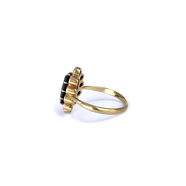 granaat cluster ring vintage goud