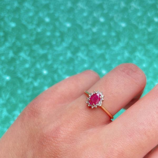 vintage ring robijn en diamant cluster