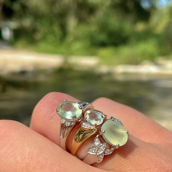 vintage ringen met groene steen