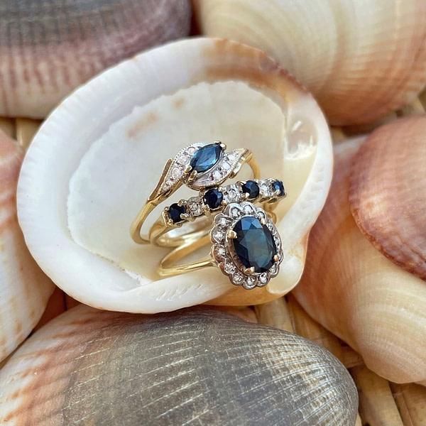 vintage ringen saffier en diamant