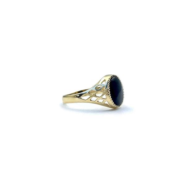 gouden zegel ring dames onyx zwarte steen signet