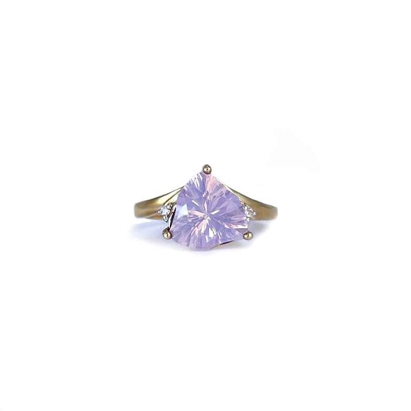 vintage ring lila steen driehoekig kwarts en diamant
